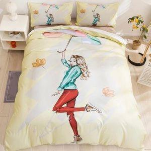 Queen Duvet 3 Piece Set Cartoon Girl W/ Umbrella